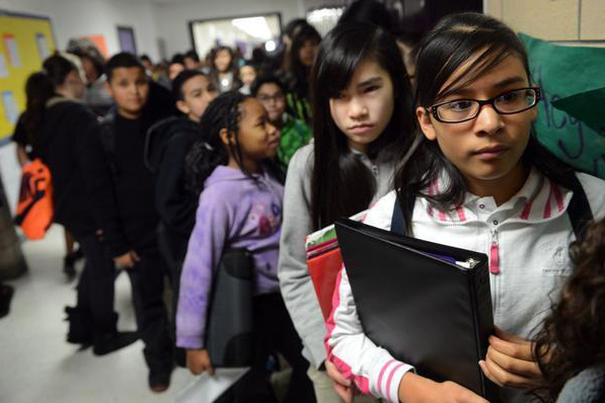 File photo of sixth-grade students at Kearney Middle School in Commerce City.