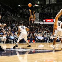 Utah's Donnie Tillman gets off a shot against Butler at Hinkle Fieldhouse in Indianapolis on Tuesday, Dec. 5, 2017. The Utes fell to the Bulldogs, 81-69.