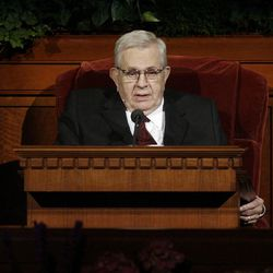 President Boyd K. Packer speaks during to the 182nd Annual General Conference for The Church of Jesus Christ of Latter-day Saints in Salt Lake City  Saturday, March 31, 2012.