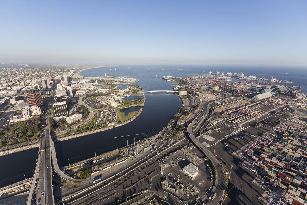 End of LA River in Long Beach