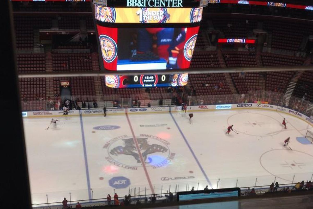 This is a picture I took from the press box of the first NHL game I covered, and it's all thanks to LBC.