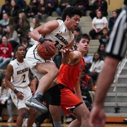 Richards' Trevon Jones (23) snatches a rebound against Brother Rice, Tuesday 02-19-19. Worsom Robinson/For the Sun-Times.