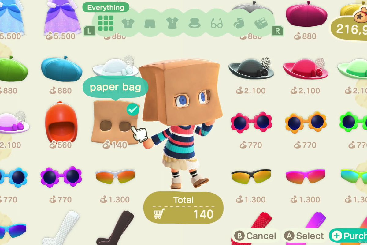 A paper bag in Animal Crossing: New Horizons.