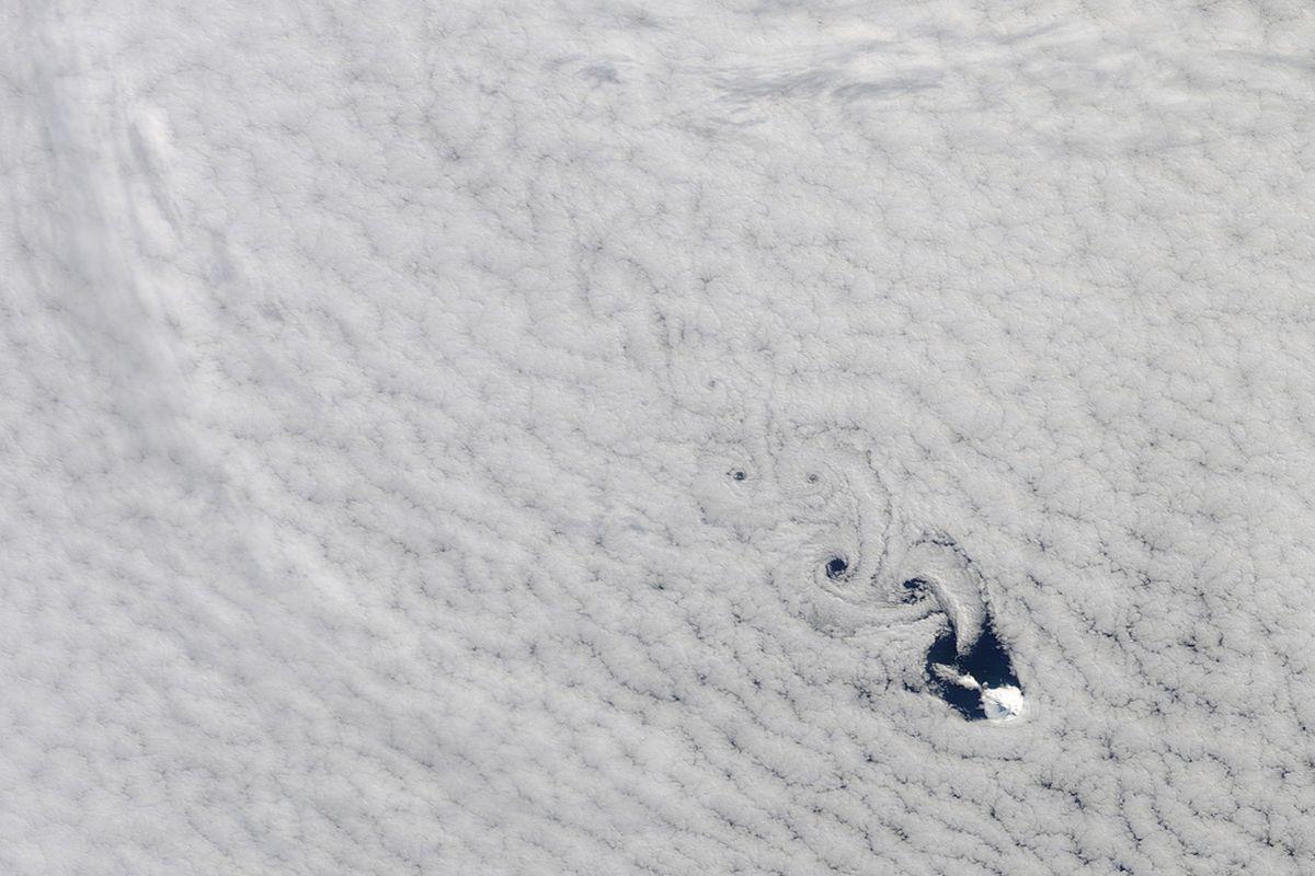 "Cloud vortices in South Indian Ocean from NASA Terra satellite. NASA/GSFC/Jeff Schmaltz/MODIS Land Rapid Response Team on <a href=""http://www.flickr.com/photos/gsfc/6163474157/"">Flickr</a>."