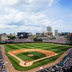 Wide view of the renovated Wrigley Field, July 20, 2019