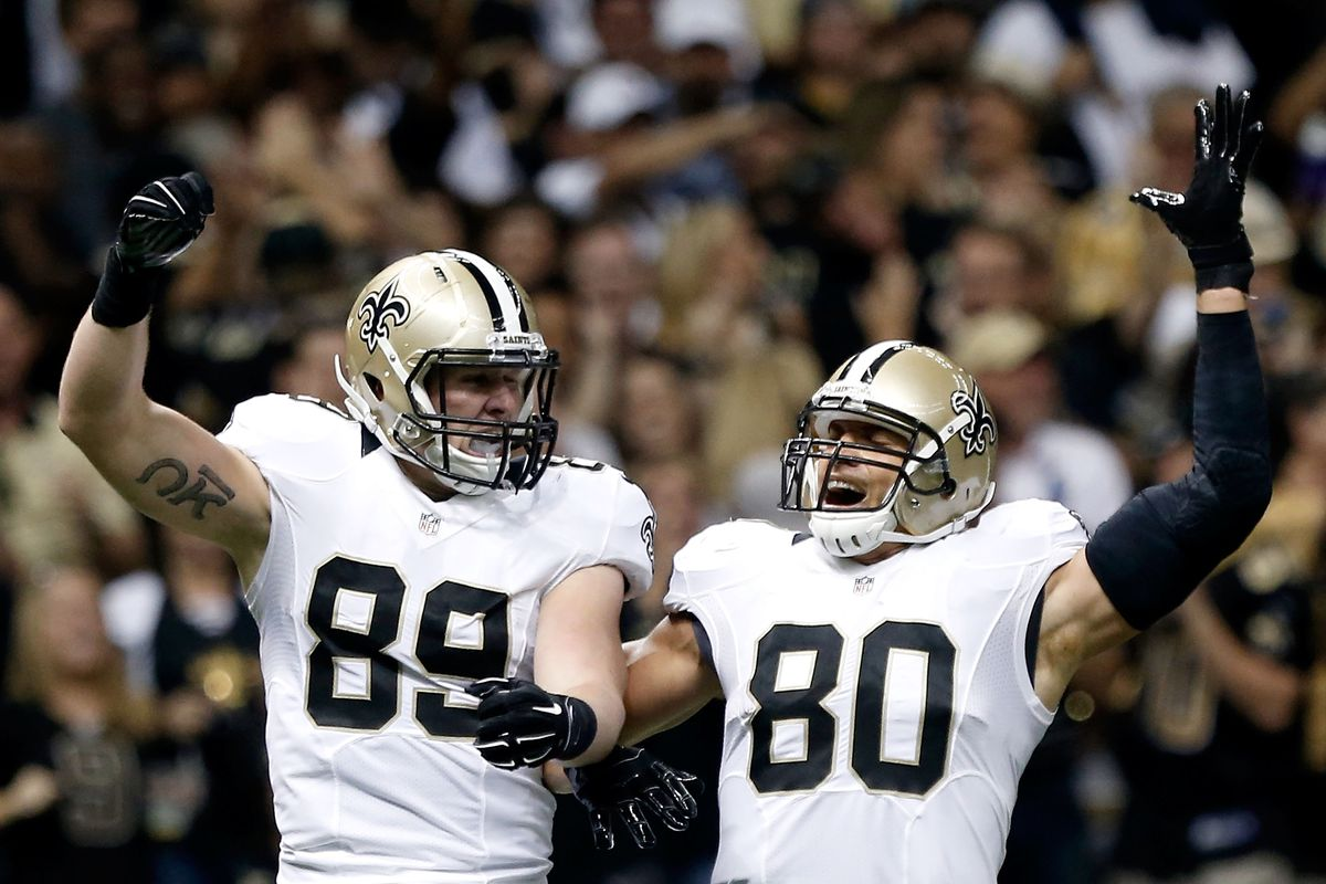 NEW ORLEANS, LA:  New Orleans Saints tight ends Josh Hill (89) and Jimmy Graham (80) celebrate after Hill scored a touchdown against the Minnesota Vikings defense during a game at the Mercedes-Benz Superdome.