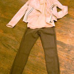 <b>SW3 Bespoke</b> Gold Queensway Jacket, $350; <b>Ella Moss</b> Mimosa Sleeveless Top, $128; <b>J Brand</b> Cypress Mid-Rise Super Skinny Jean, $185