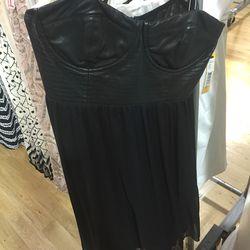 Black leather bustier dress, $269 (was $552)