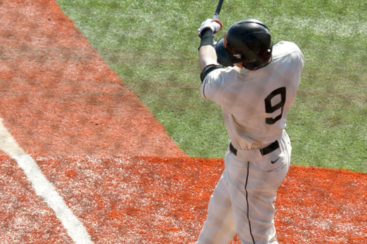 Danny Hayes drove in the first run of the game in the 8th inning. (Photo by Andy Wooldridge)