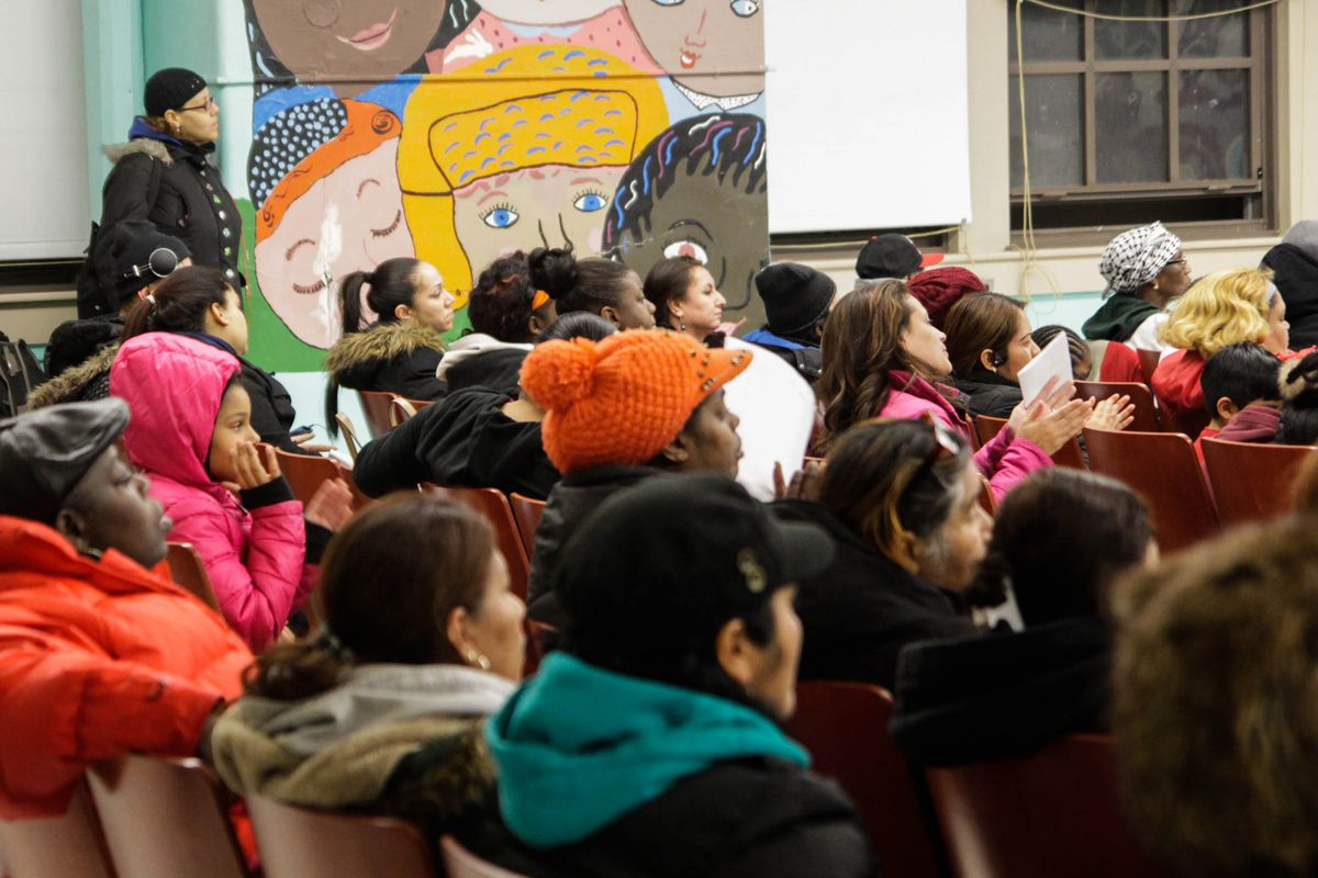 Parents and staff members from P.S. 277 and Academic Leadership Charter School at a January public hearing about a co-location plan.