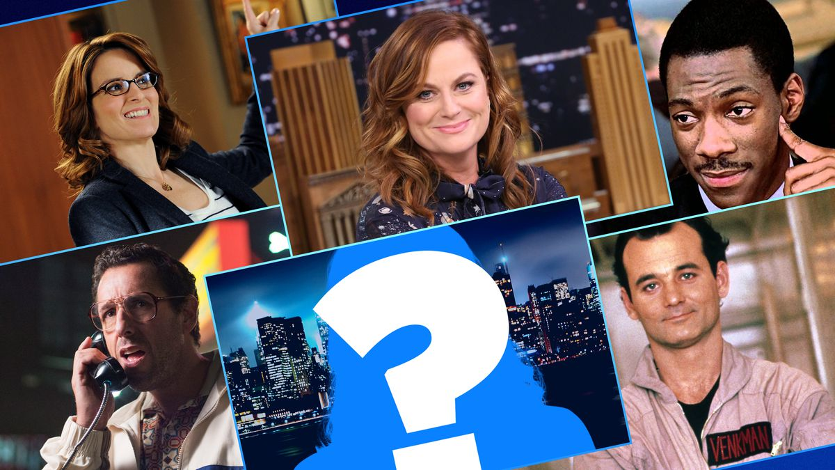Graphic grid featuring Bill Murray, Eddie Murphy, Tina Fey, Adam Sandler, Amy Poehler, and a big question mark in the middle