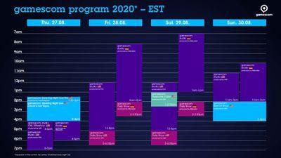 Gamescom schedule of events in EST timing