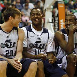 Gordon Hayward, Alec Burks and Jeremy Evans joke around before the Utah Jazz scrimmages in Salt Lake City, Saturday, Oct. 5, 2013.