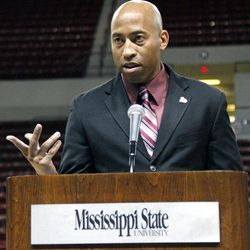 Rick Ray gestures as he speaks to a small gathering of reporters and fans after being introduced as Mississippi State's head basketball coach on Monday, April 2, 2012 at the school's Humphrey Coliseum in Starkville, Miss. The 40-year-old Ray comes to Mississippi State after spending two years as the top assistant at Clemson.