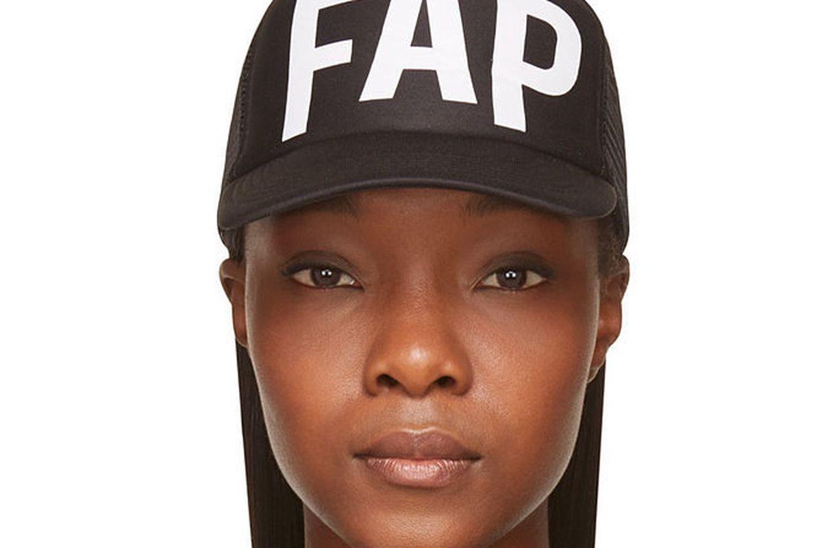 "The fap hat, $65 at <a href=""https://www.ssense.com/women/product/filles_a_papa/ssense-exclusive-black-fap-trucker-cap/117445"">Ssense</a>"