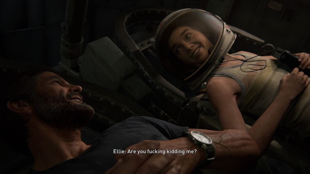 Ellie and Joel sit in a space shuttle in The Last of Us Part 2.
