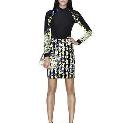 Rash Guard in Black/Green Floral Stripe Print, $29.99; Pencil Skirt in Green Floral Stripe Print, $34.99*; Pouches in Clear/Green Floral Print, $22.99