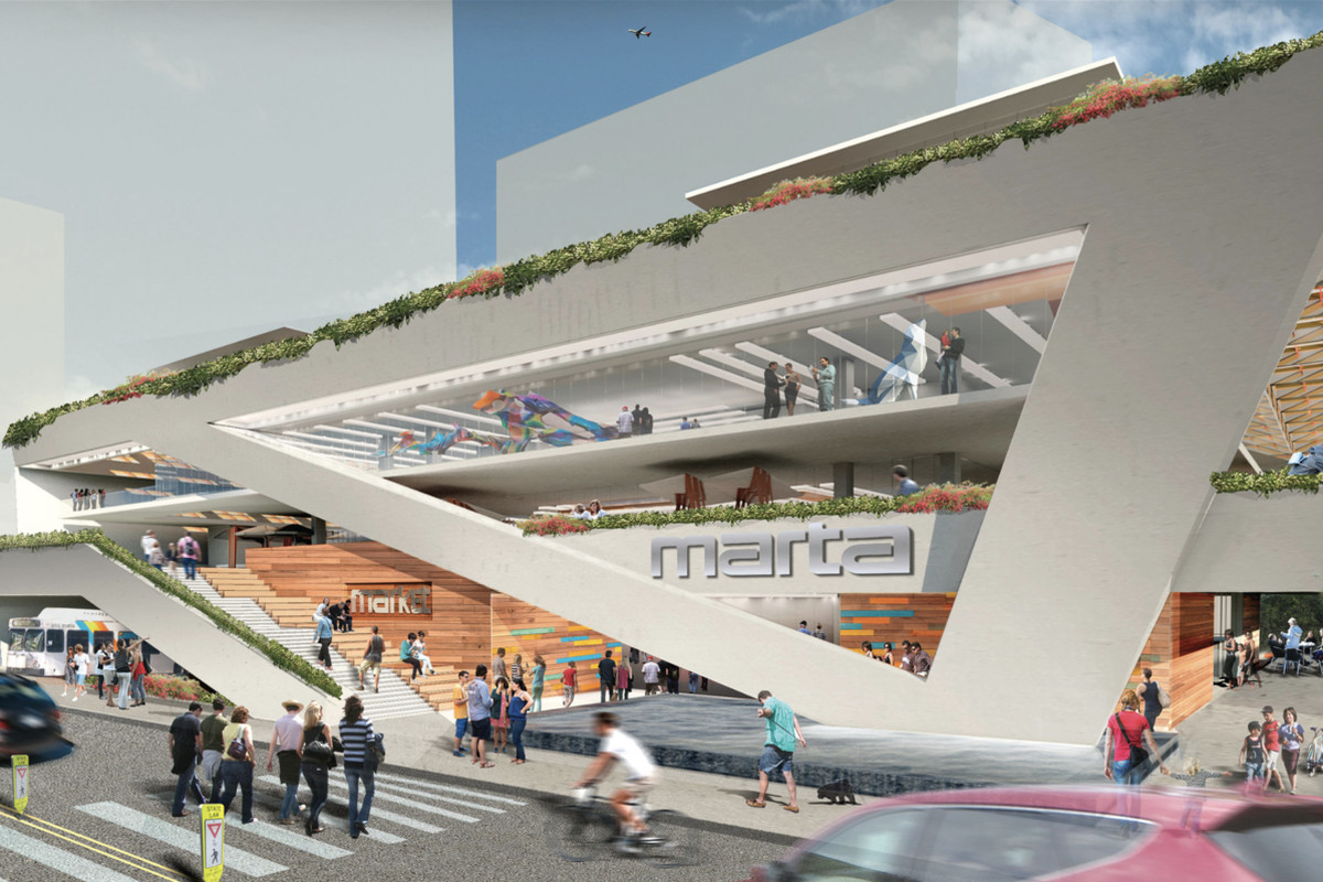 A rendering shows the Midtown MARTA station transformed into a massive mixed-use destination, featuring large, triangular modern structures.