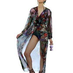 "<a href=""http://shopcarmelita.com/black-floral-light-jacket/"">Floral Chiffon Robe</a>, $165, by local designer Carmelita Martell"