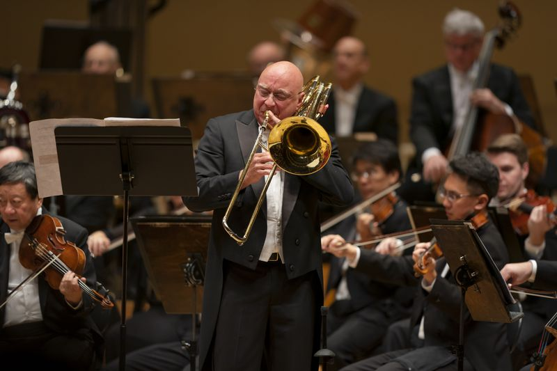 Bass Trombone Charles Vernon is the soloist in the world premiere performance of James Stephenson's Chicago Symphony Orchestra-commissioned Bass Trombone Concerto, with the CSO conducted by Riccardo Muti, Thursday June 13, 2019.
