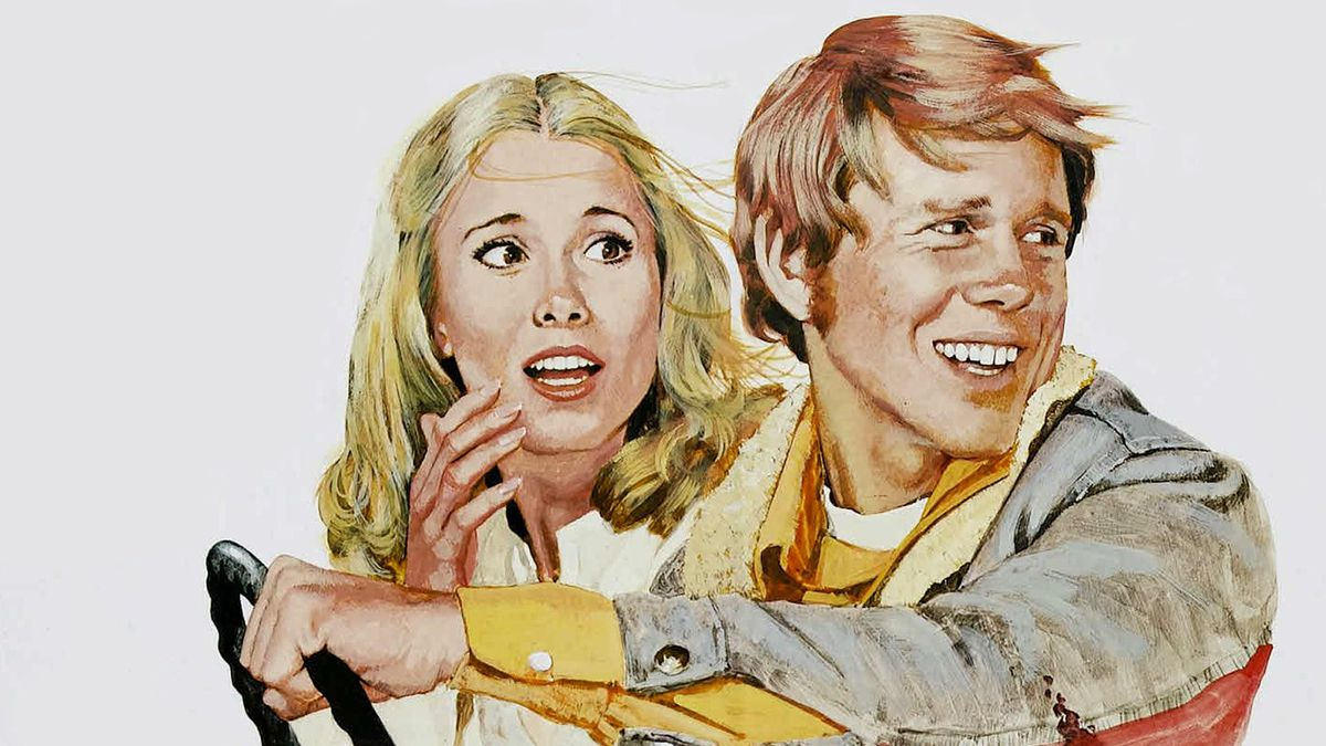 An artist's depiction shows Ron Howard and Nancy Morgan on the road together in 1977's Grand Theft Auto