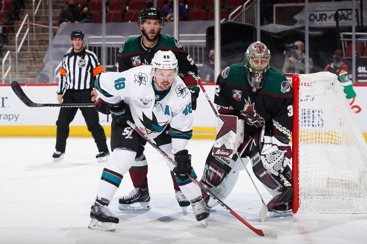 Tomas Hertl #48 of the San Jose Sharks sets up in front of goaltender Antti Raanta #32 of the Arizona Coyotes during the third period of the NHL game at Gila River Arena on January 16, 2021 in Glendale, Arizona. The Coyotes defeated the Sharks 5-3.