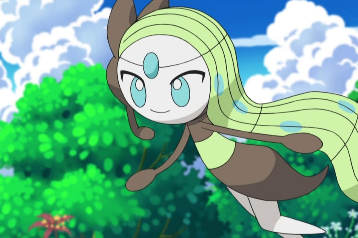 Meloetta floats happily in the air