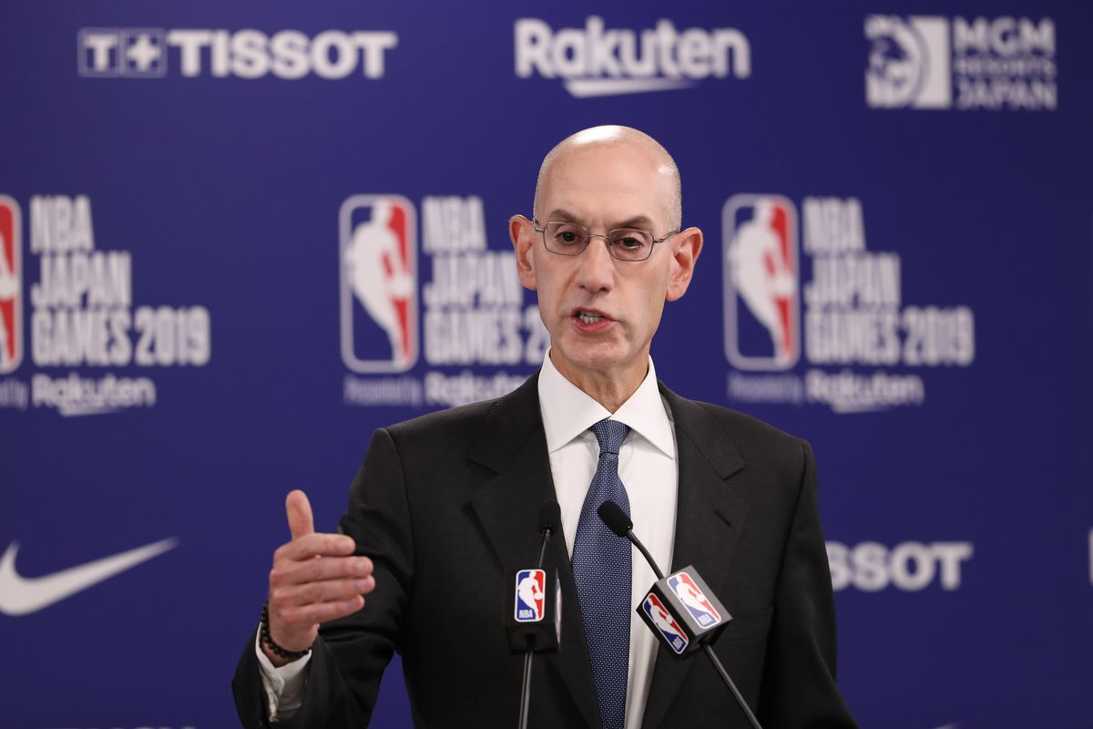Commissioner of the National Basketball Association (NBA) Adam Silver speaks during a press conference prior to the preseason game between Houston Rockets and Toronto Raptors at Saitama Super Arena on October 08, 2019 in Saitama, Japan.