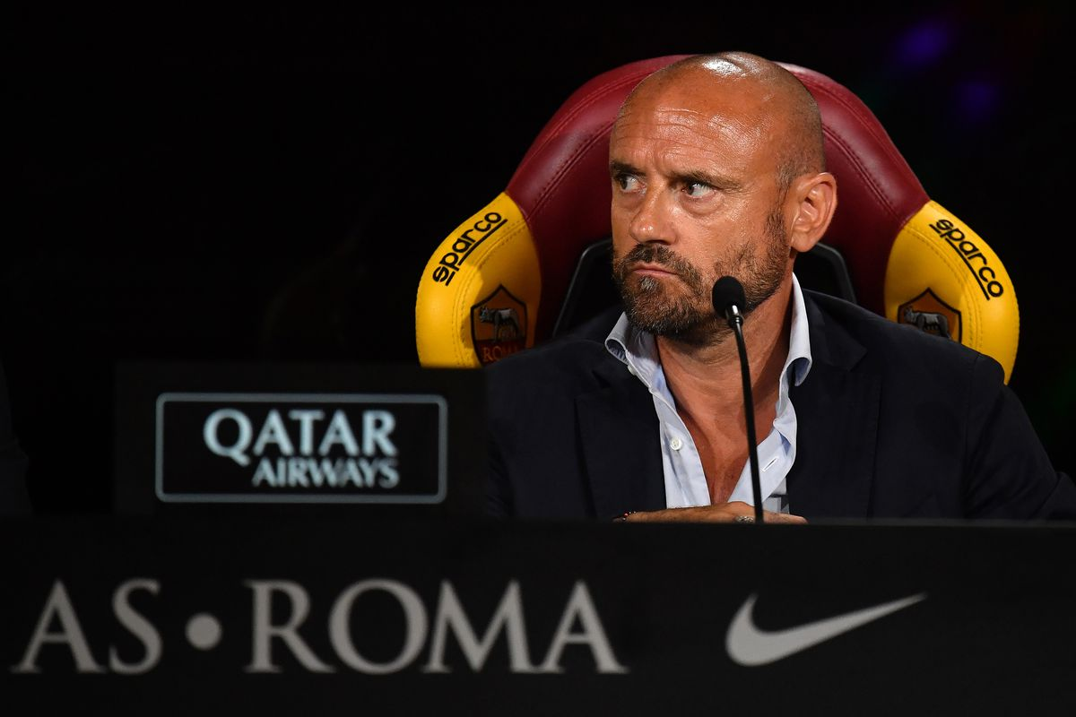 AS Roma Sport Director Gianluca Petrachi attends the press...