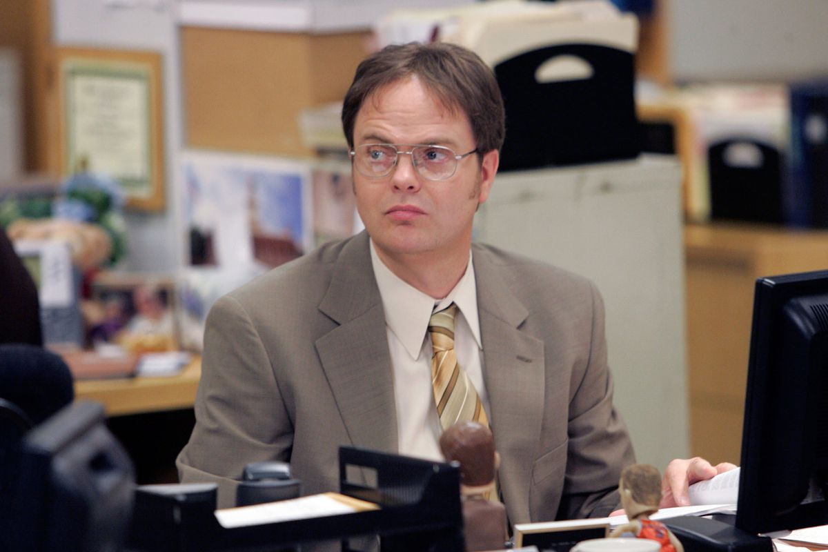 "Rainn Wilson as Dwight Schrute in a scene from NBC's ""The Office."""