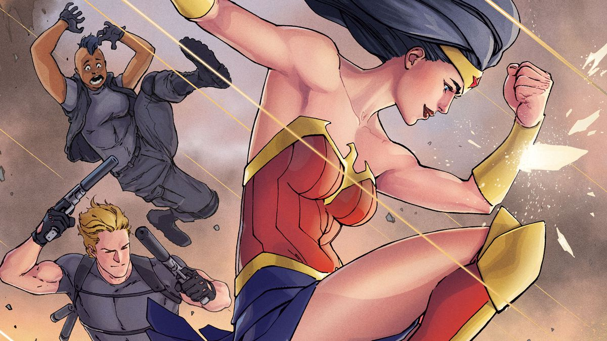 Cover for Wonder Woman #759, with Diana deflecting bullets around swat team guys