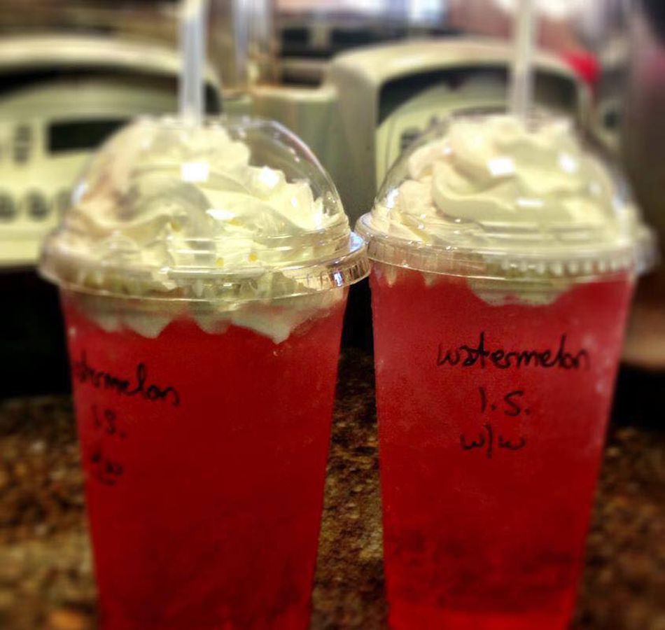 Watermelon Italian ice sodas, among the drive-thru options at Grouchy John's Coffee.