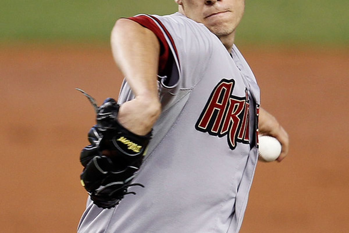 MIAMI, FL - APRIL 30:  Patrick Corbin #46 of the Arizona Diamondbacks pitches during a game against the Miami Marlins at Marlins Park on April 30, 2012 in Miami, Florida.  (Photo by Sarah Glenn/Getty Images)