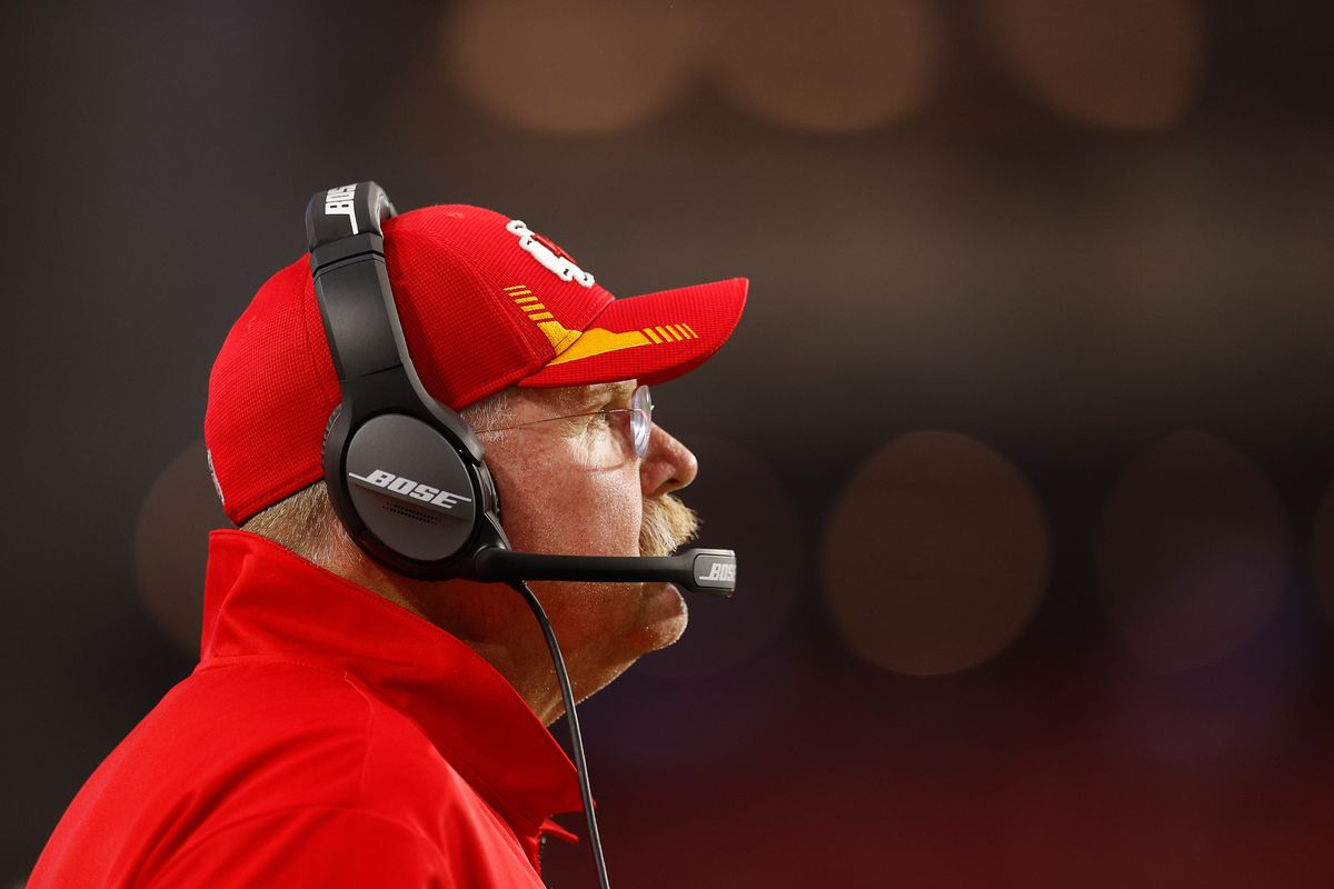 Head coach Andy Reid of the Kansas City Chiefs watches from the sidelines during the first half of the NFL preseason game against the Arizona Cardinals at State Farm Stadium on August 20, 2021 in Glendale, Arizona.