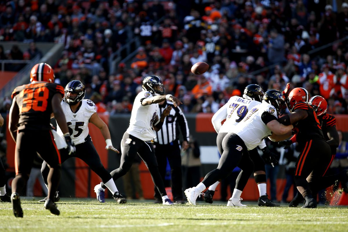 Lamar Jackson of the Baltimore Ravens throws a pass against the Cleveland Browns in the game at FirstEnergy Stadium on December 22, 2019 in Cleveland, Ohio.