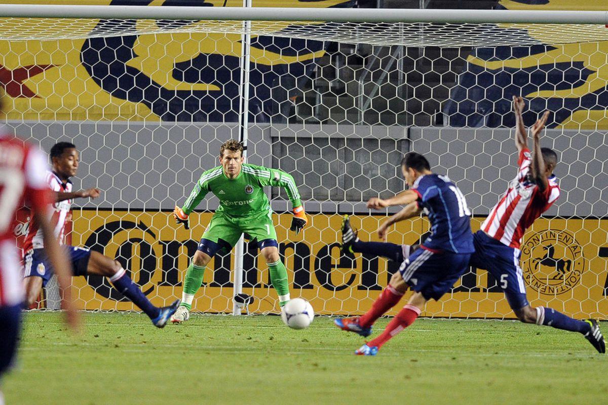 May 4, 2012; Carson, CA, USA; Chivas: A goal Friday, but no points. Mandatory Credit: Kelvin Kuo-US PRESSWIRE
