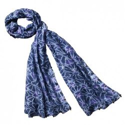 Coin Scarf in Blue Print