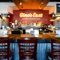The wrap-around bar at Gino's East in The Woodlands.