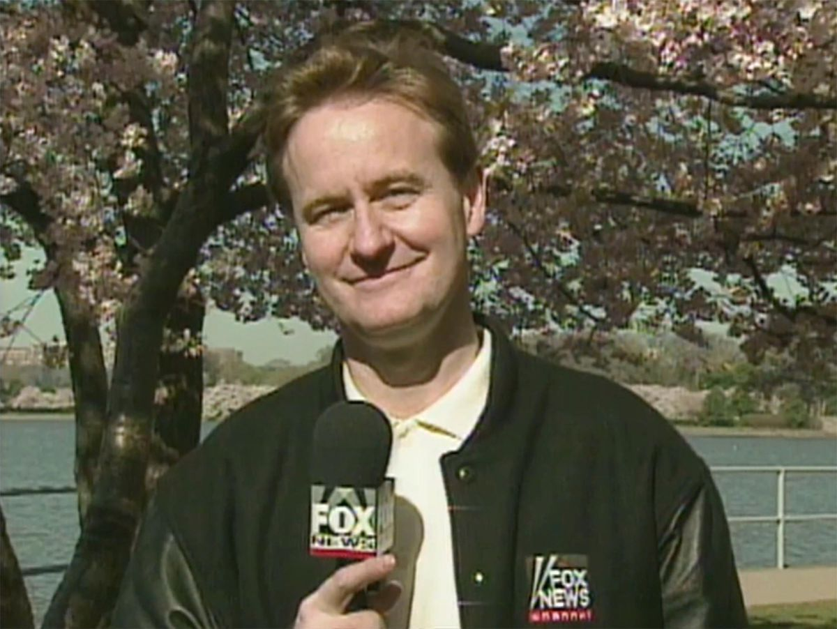 Steve Doocy is pictured on the Fox News Channel in 1996.