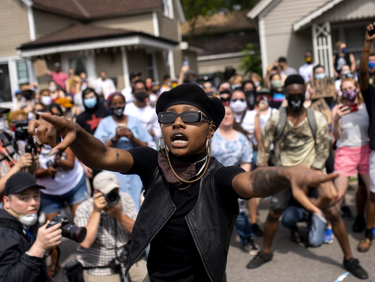 Protesters march in Minneapolis to commemorate the life of George Floyd