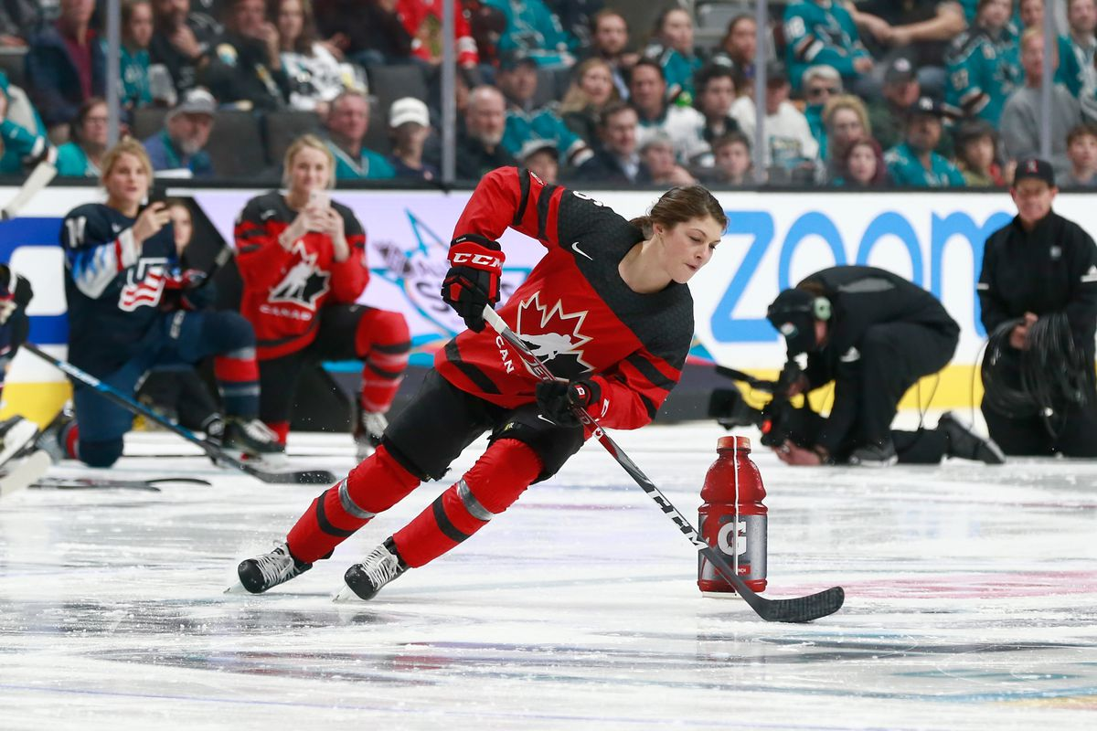 Rebecca Johnston #6 of the Canadian Women's National team skates during the Gatorade NHL Puck Control during the 2019 SAP NHL All-Star Skills