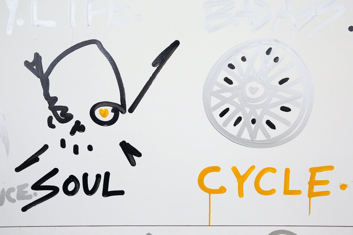 """A drawing of a skull and a wheel with the words """"soul"""" and """"cycle"""" below each item."""