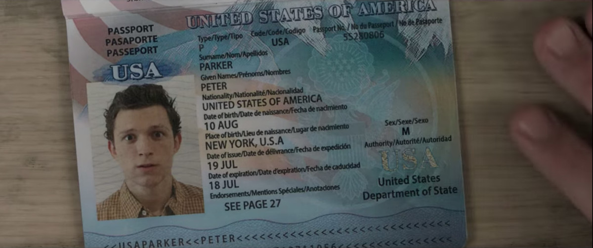 A passport for Peter Parker with the date of issue blurred out
