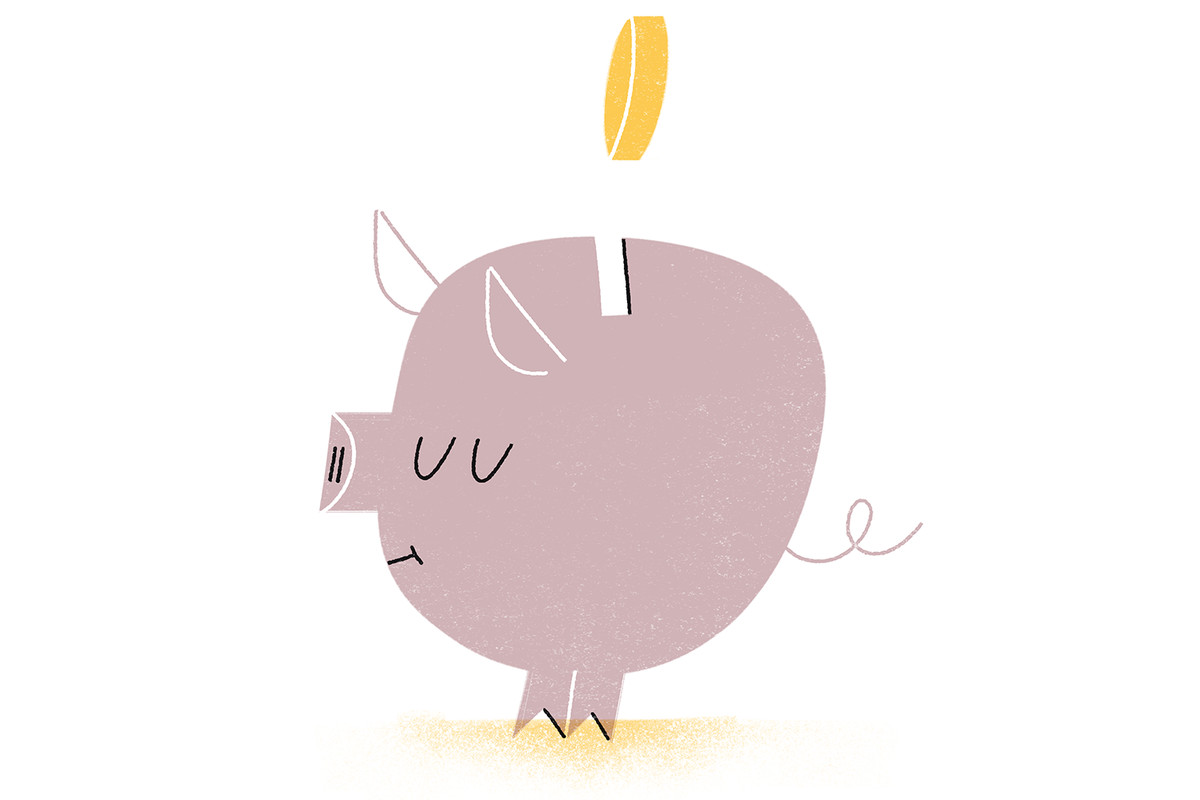 An illustration of a coin being dropped into a piggy bank.