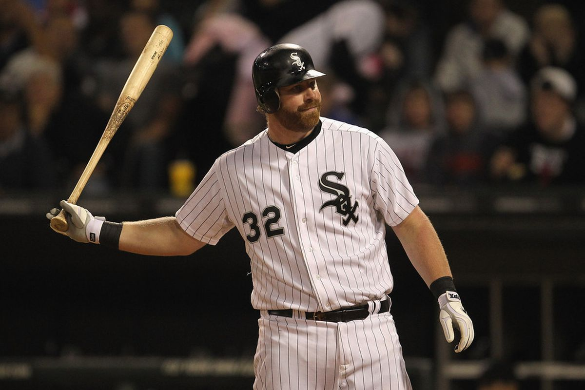 Adam Dunn of the Chicago White Sox throws his bat after striking out against the Toronto Blue Jays at U.S. Cellular Field in Chicago, Illinois. (Photo by Jonathan Daniel/Getty Images)