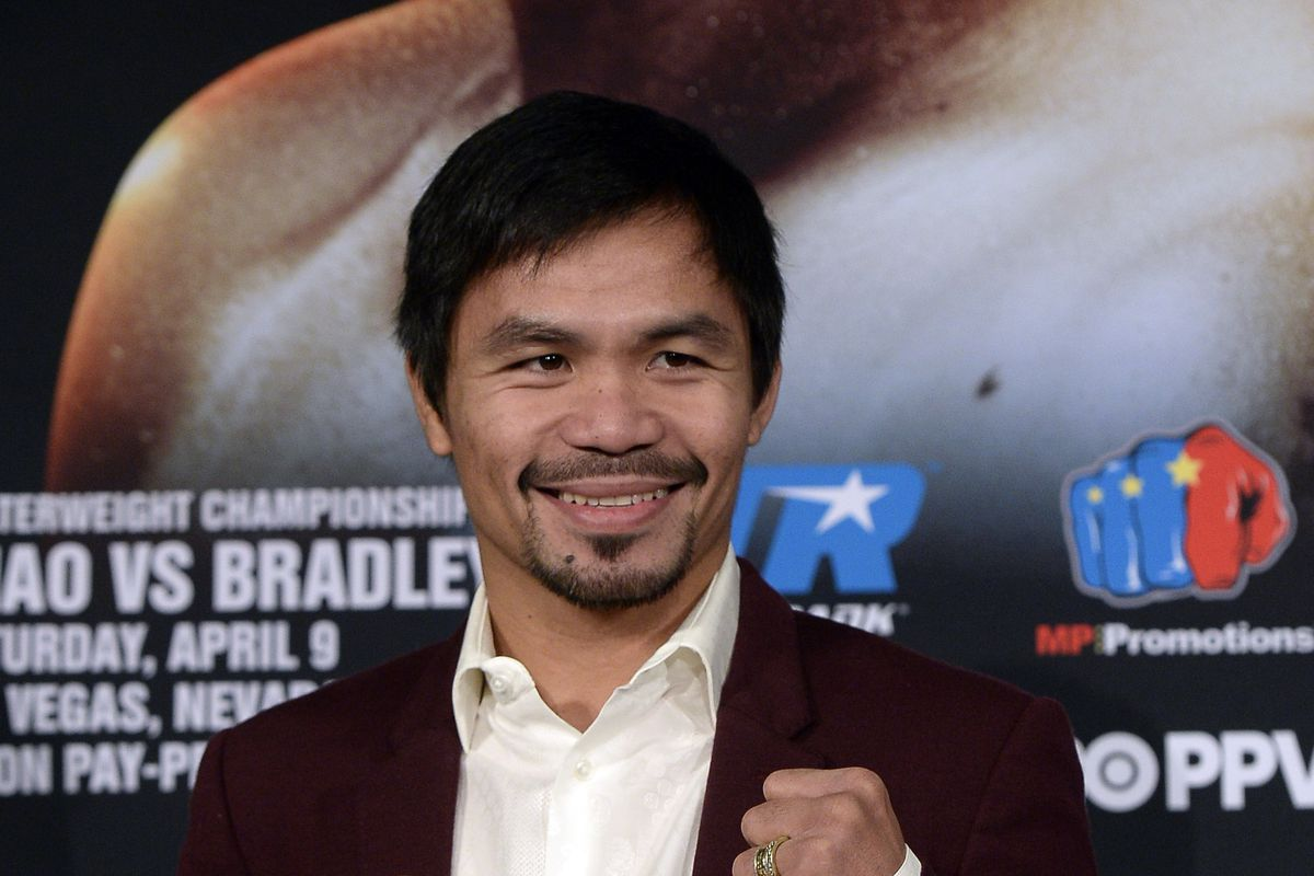 Manny Pacquiao poses during a media tour.