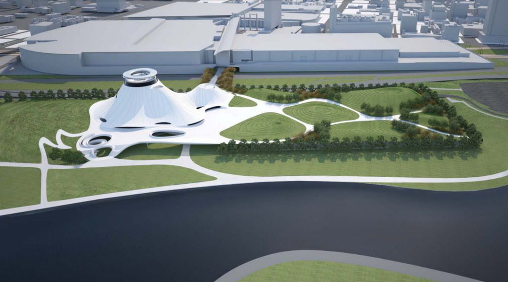 A rendering of what a Lucas Museum would have looked like at a proposed site at McCormick Place East. Eventually, Chicago lost the museum to Los Angeles. | Provided rendering