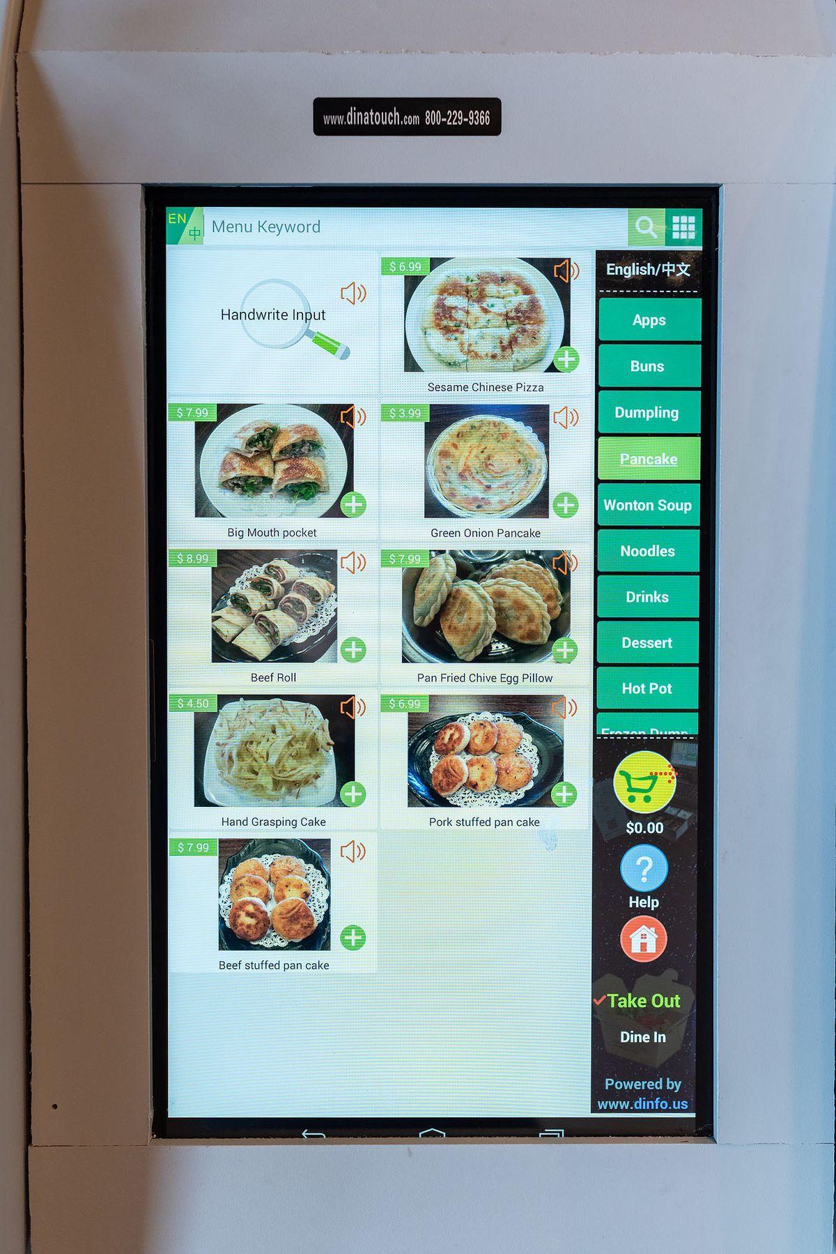 Tablet menu at You Kitchen