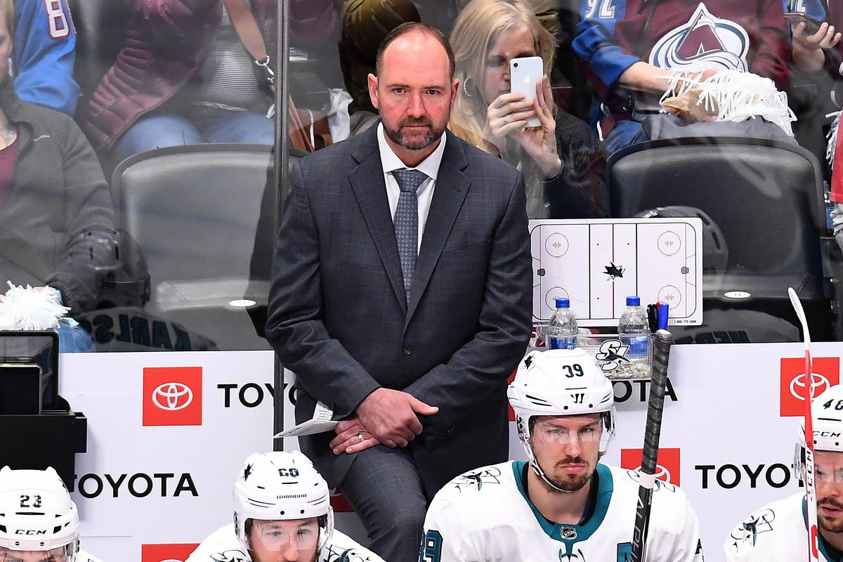 May 2, 2019; Denver, CO, USA; San Jose Sharks head coach Peter DeBoer on the bench in the first period against the Colorado Avalanche in game four of the second round of the 2019 Stanley Cup Playoffs at the Pepsi Center.