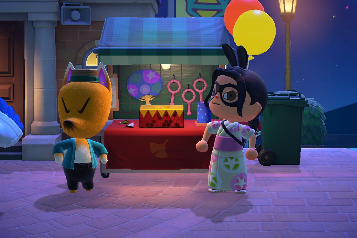 An Animal Crossing character proudly poses with Redd in front of a vendor stall